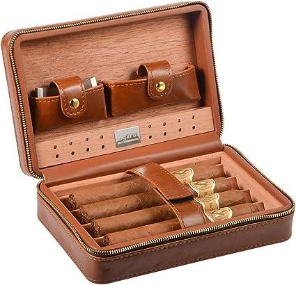 Braun Leder Spanisch Cedar gefüttert Zigarre Business Travel Fall Humidor 3