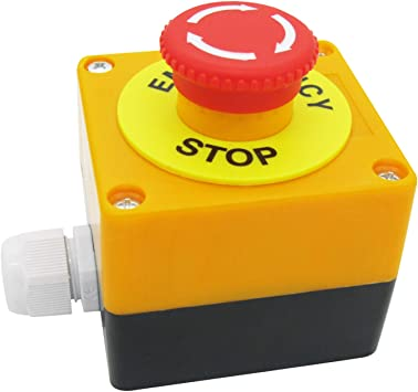 TWTADE /Emergency Stop Red Sign Mushroom Push Button Switch Station 1 NC 1 NO 440V 10A Normally Closed Stop Switch Box LA38-11ZS-BOX