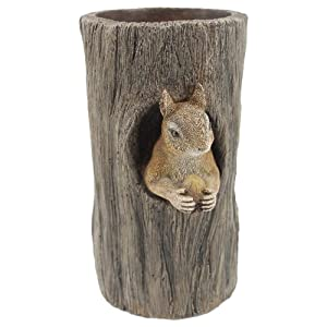"""Comfy Hour 9"""" Polyresin Squirrel Hiding in Stump Figurine Candle Holder, Home Decoration Statue, Gray"""