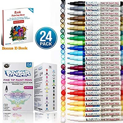 PINTAR Fine Tip Paint Pens for Rock Painting Art - Acrylic Fine Point Pens for Wood, Glass, Metal and Ceramic - Water Resistant and Quick Drying Ink for Arts & Crafts