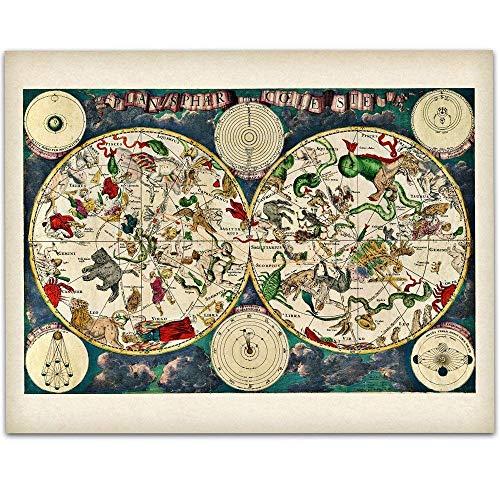 Planisphere Celeste Map - Zodiacs of the Night Sky -11x14 Unframed Art Print - Great Vintage Home Decor Under $15