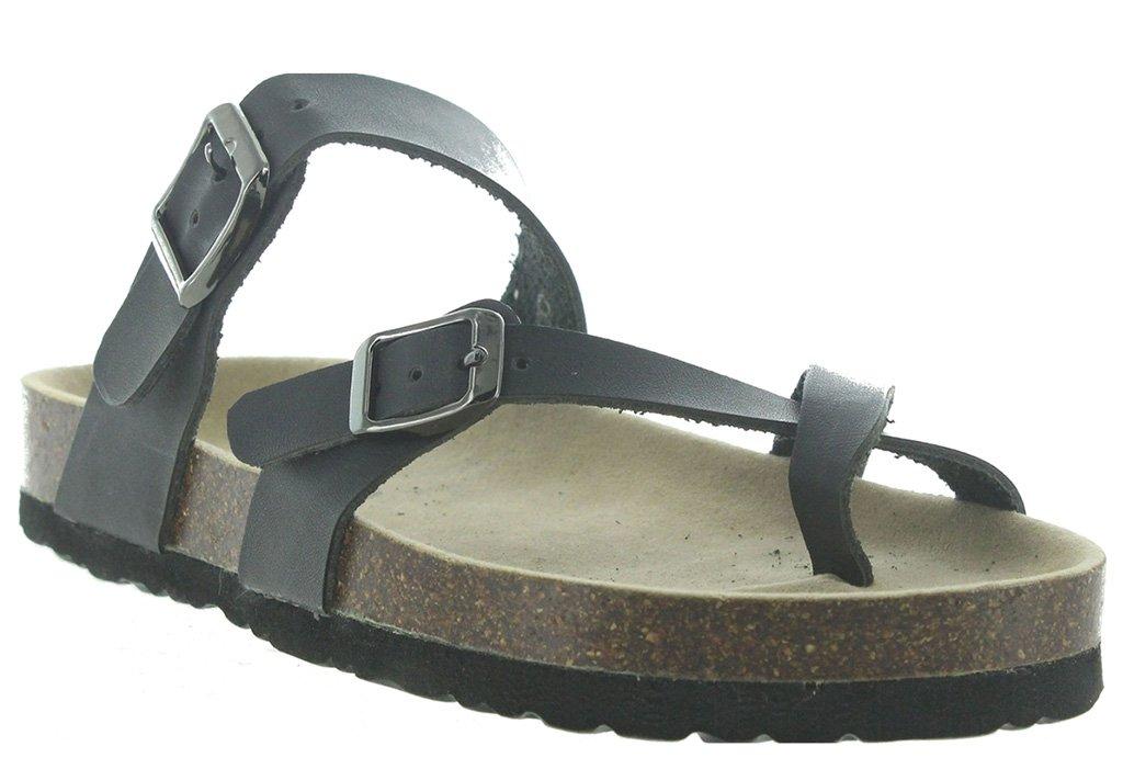 OUTWOODS Women's Bork-30 Vegan Leather Toe-Loop Buckle Flats Sandals, Black 11