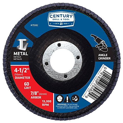 Century Drill and Tool 75582 Flap Disc, 4-1/2-Inch by 60 Grit