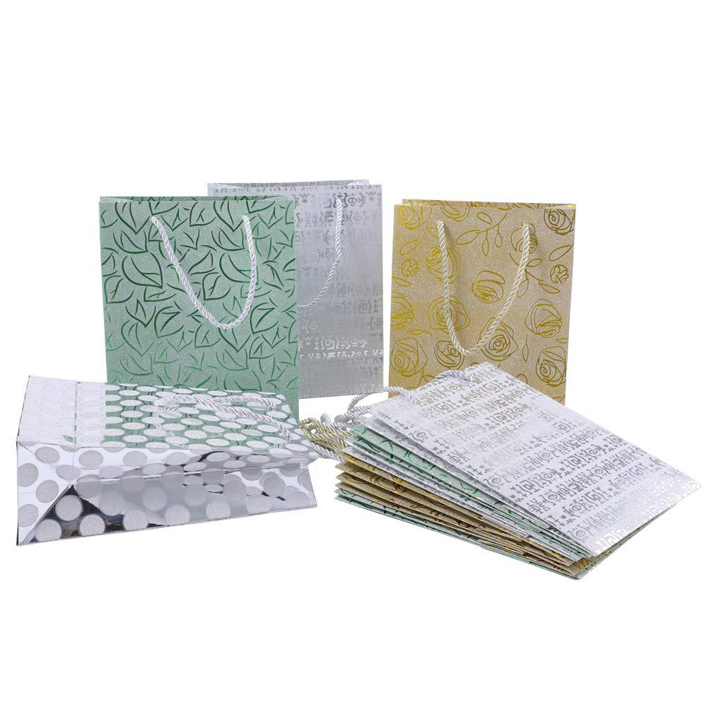 Phantomon 12 Gift Bags Kraft Paper Gift Bag, Silver Polka Dots, Green Leaves, Gold Roses, Cute Stripe Glitter Design, Birthday, Graduation, Baby Shower, Holiday, Anniversary Gift Bags, 4 Designs