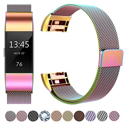 GEAK Bands Compatible with Fitbit Charge 2, Milanese Stainless Steel Replacement Strap Bands with Magnetic Closure for Fit bit Charge 2 Small Colorful
