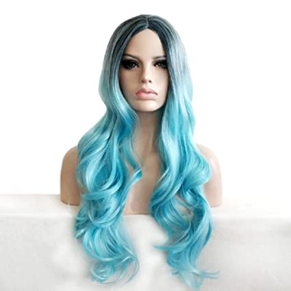JIAFA Long Wave Curly Peluca Cosplay Azul Medio Parting Raíces Oscuras De Alta Calidad Natural Ondulado