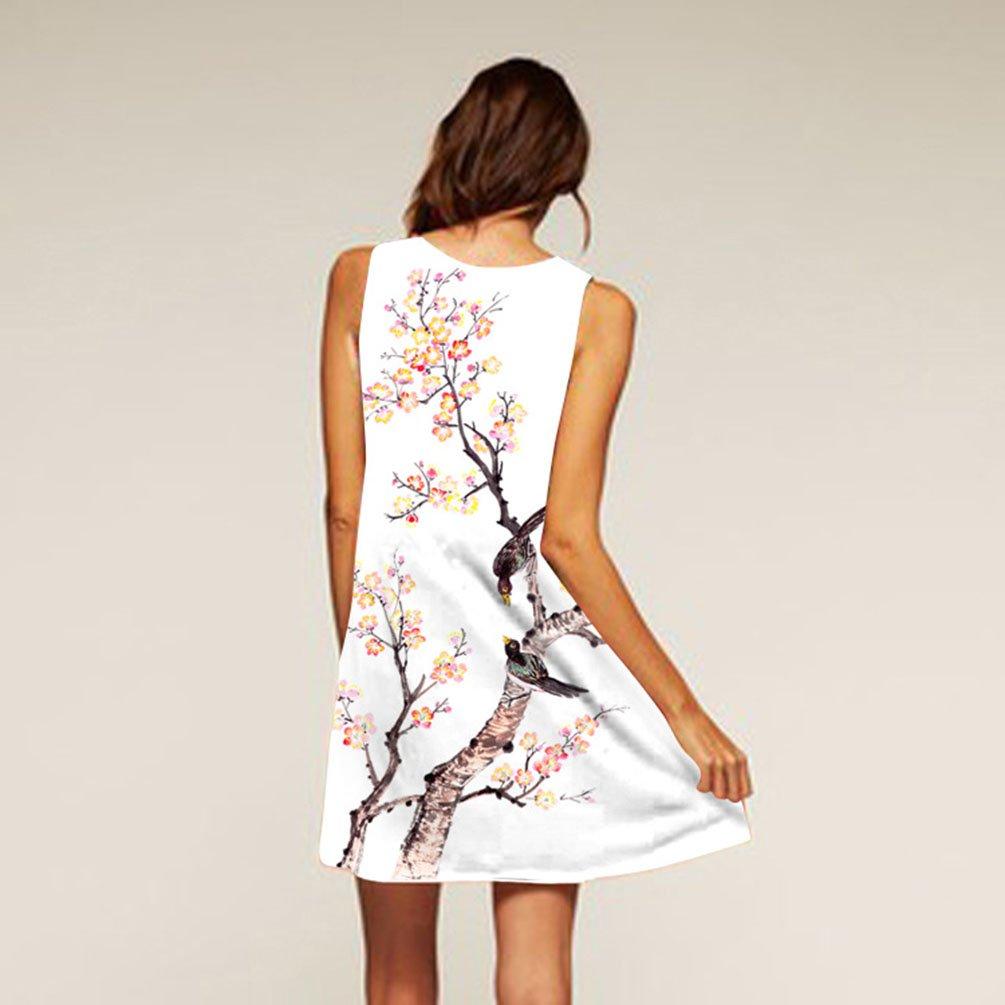 ffecd1eb78e9 ZKOOO Femme Mini Robes Blanche Plage Col Rond sans Manche A-Line Courte  Robe Vest Rouge Fleurie Arbre Imprimé Ample Dress Été Fille  Amazon.fr   Vêtements et ...