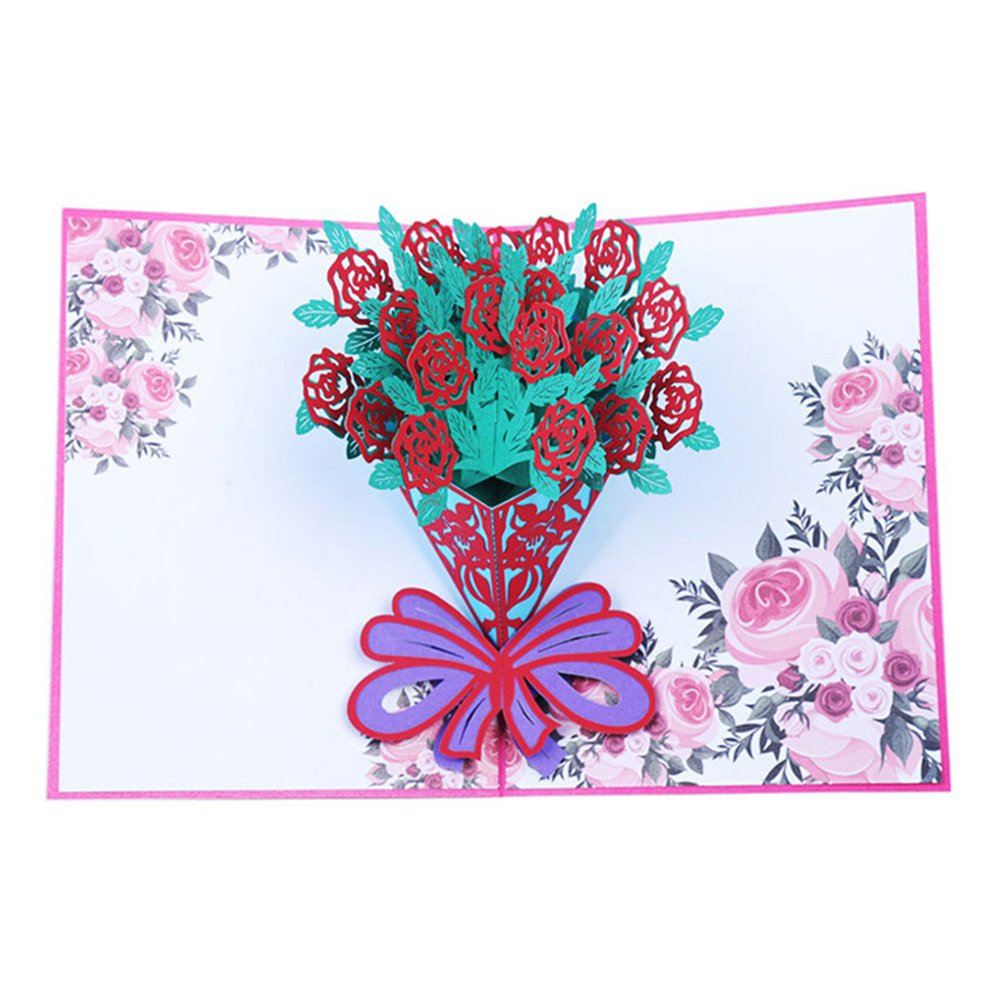 Bluelans Big Rose 3d Pop Up Greeting Cards Fantastic Flower
