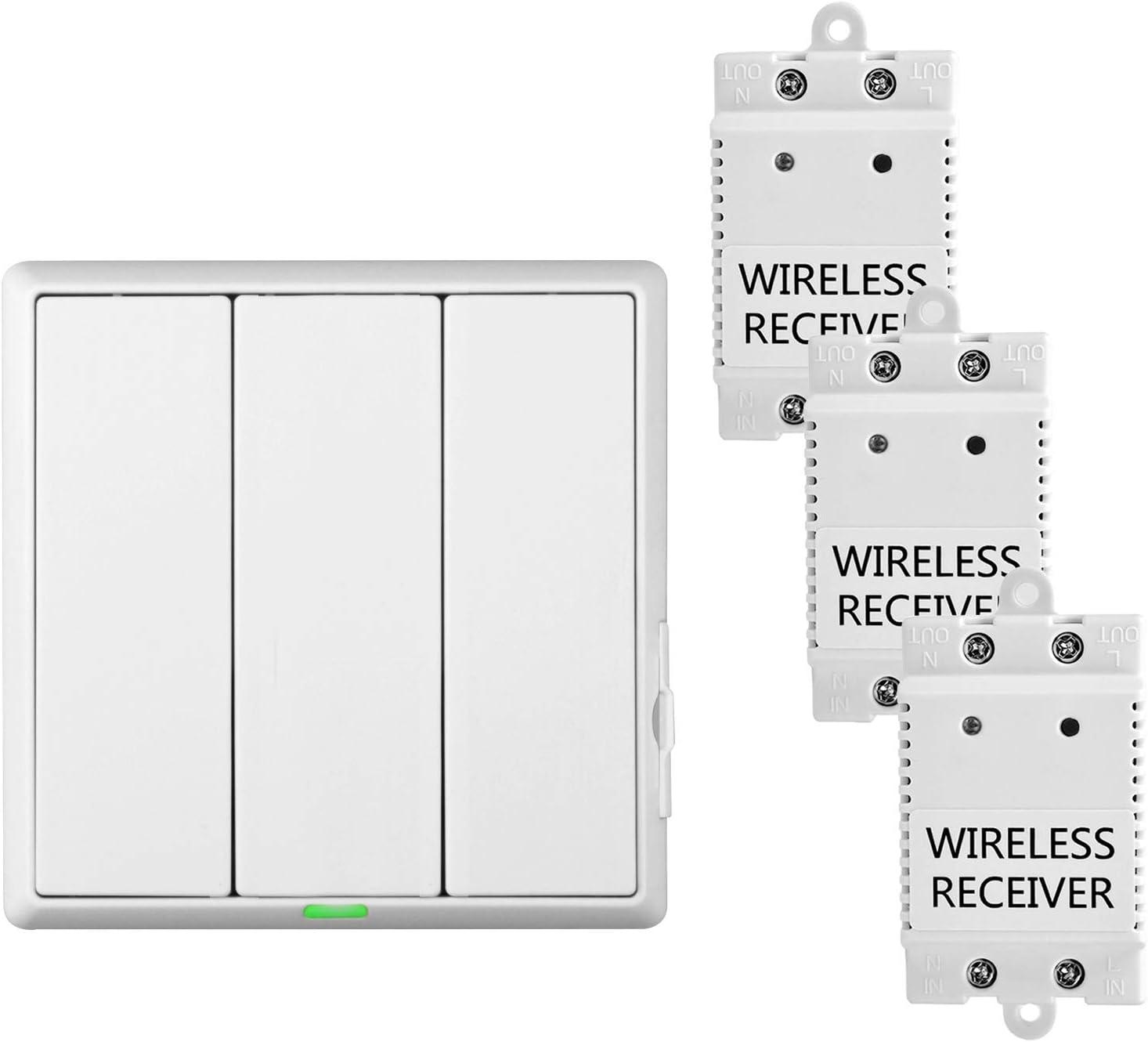 1//2//3 Gang 433MHz RF-Fernbedienungssender Kabellos Push Button Wall Lights Schalter Panel /Überall bleiben F/ür Zuhause Wohnzimmer Schlafzimmer Festnight Fernbedienung Wandleuchte Schalter Panel
