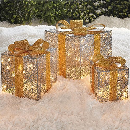 Outdoor Lighted Christmas Gift Boxes Lawn Decoration