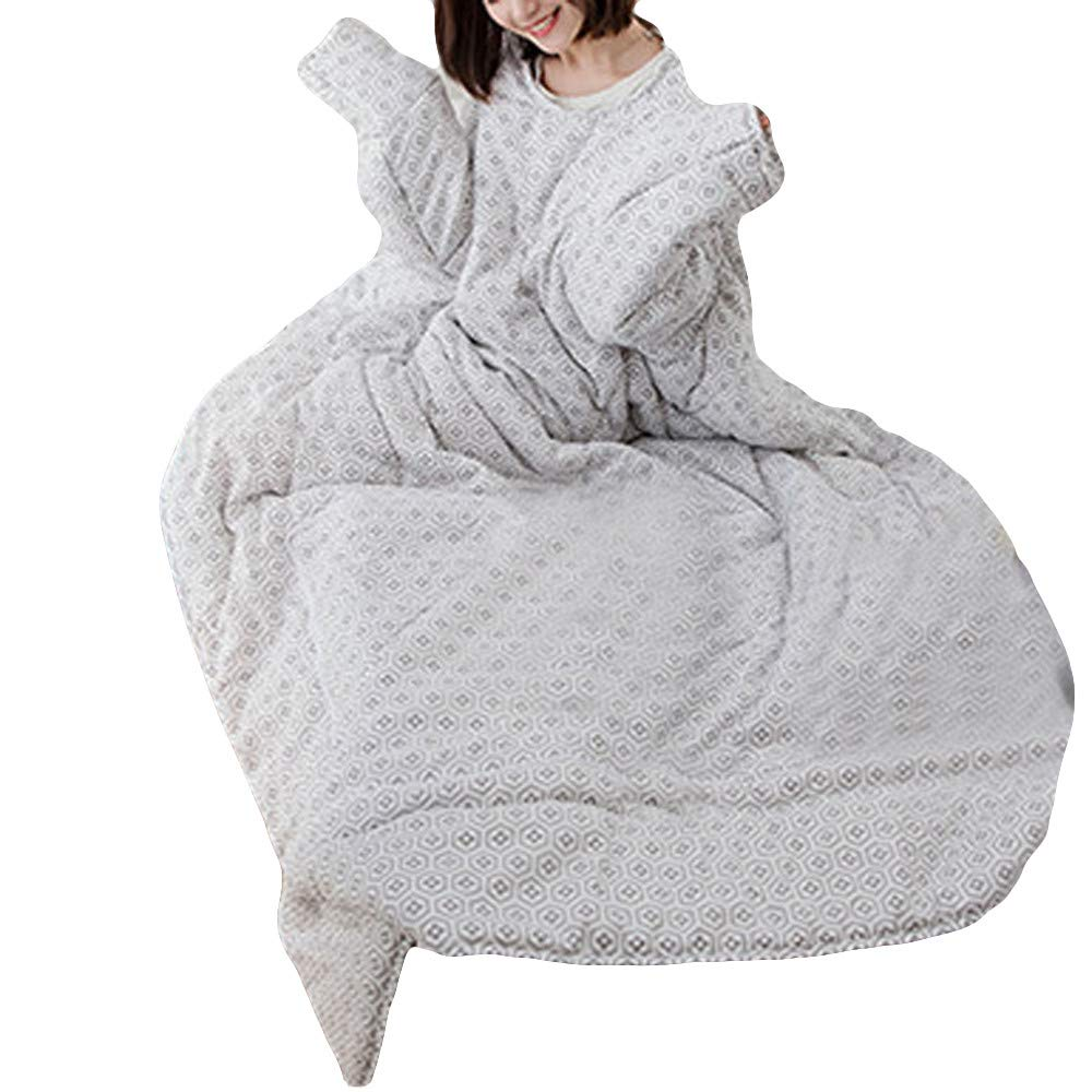 FTXJ Multifunction Lovers Winter Warm Long Sleeve O-Neck Suit Print Thicken Blanket