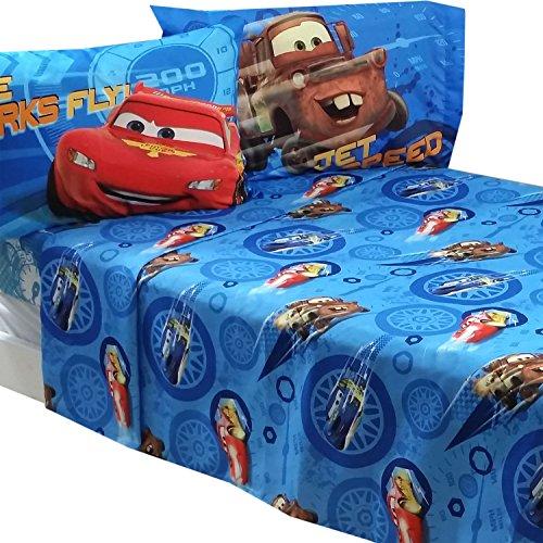 Disney Standard Sheet Set (4pc Disney Cars Full Bed Sheet Set Lightning McQueen City Limits Bedding)