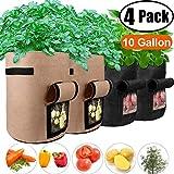 4 Pack 10 Gallon Potato Grow Bags with Flap Velcro Window and Handles Garden Vegetable Grow Bags Breathable Nonwoven Heavy Duty, Smart Potato Tomato Veggies Flower Planter Bag (2xBlack,2xBrown) Large
