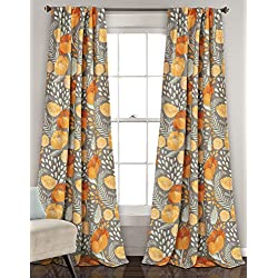 Lush Decor Poppy Garden Window Curtain, Panel Pair, Yellow and Gray