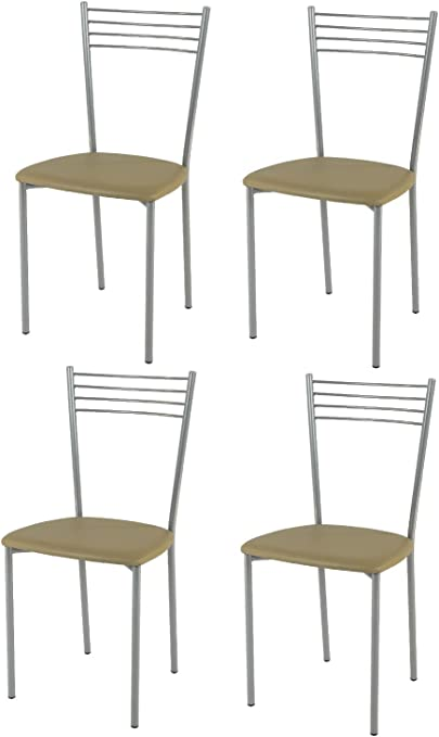 Tommychairs Set 4 sedie moderne e design Elena per cucina, bar e sala da pranzo, con struttura in acciaio verniciato color alluminio e seduta