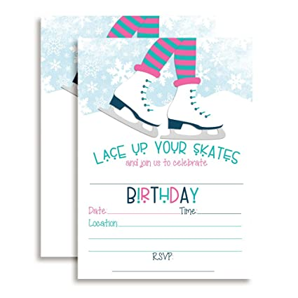 Amazon ice skating birthday party invitations for girls ten 5 ice skating birthday party invitations for girls ten 5quotx7quot fill in cards filmwisefo