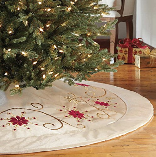 Adjustable Christmas Tree Skirt- Gold and Red by Generic