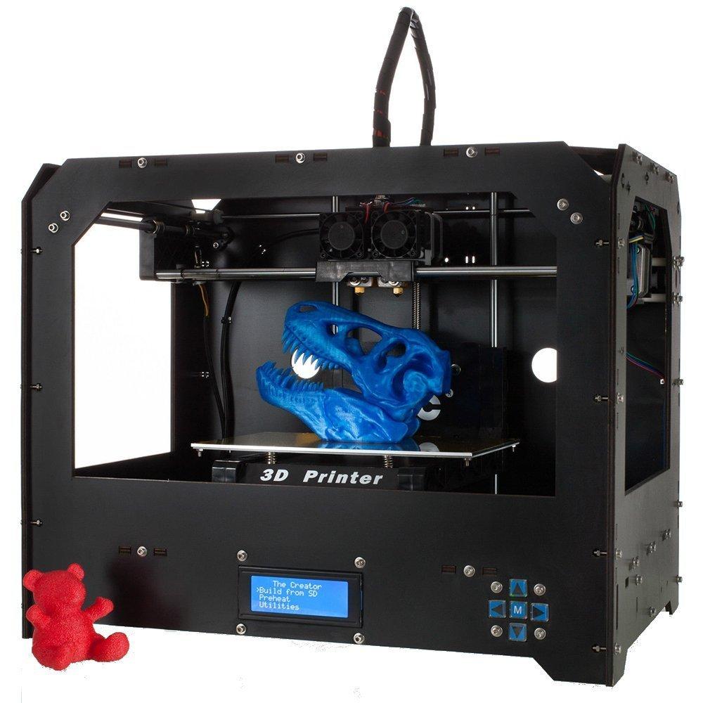Win-Tinten Schwarz 3D-Drucker Direkt Losdrucken! + Software + 1 Rolle ABS/PLA Filament + Dual Extruder + beheizbare Bauplattform + Zubehö r GUCOCO