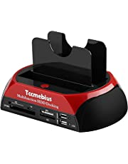 """Tccmebius TCC-S862-UK USB 2.0 to 2.5 3.5 Inch SATA IDE Dual Slots External Hard Drive Docking Station with All in 1 Card Reader and USB 2.0 Hub For 2.5"""" 3.5"""" IDE SATA I/II/III HDD SSD"""