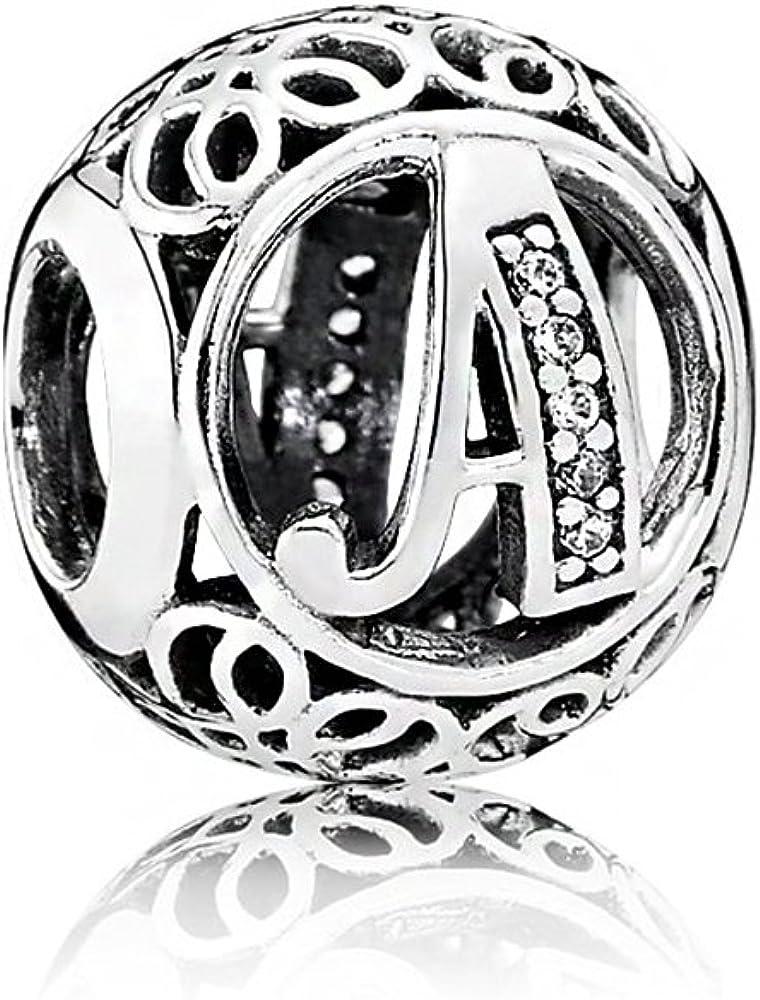 NINGAN Abalorios Charms Colgantes de Alfabeto Cuentas Plata de Ley 925 con Circonita cúbica Transparente Compatible con Pulsera Pandora & Europeo, Charms de Letra para Mujer Niña