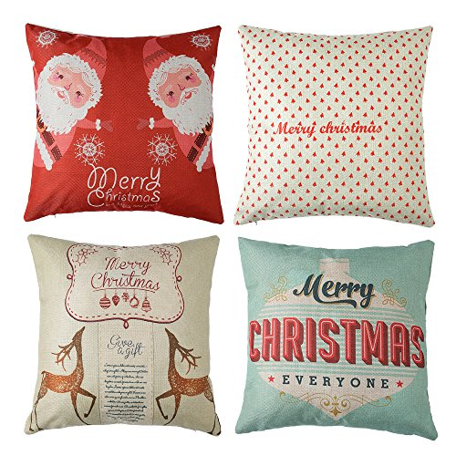 (4pk Happy Holidays Print Throw Pillow Cases Christmas Gift Sofa Cushion Pillow Covers 18