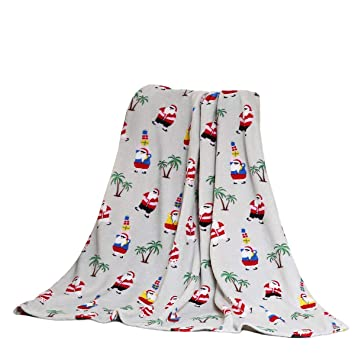 Christmas Throw Blanket.Holiday Christmas Throw Blanket Soft Plush 50x60 Beach Tropical Santa
