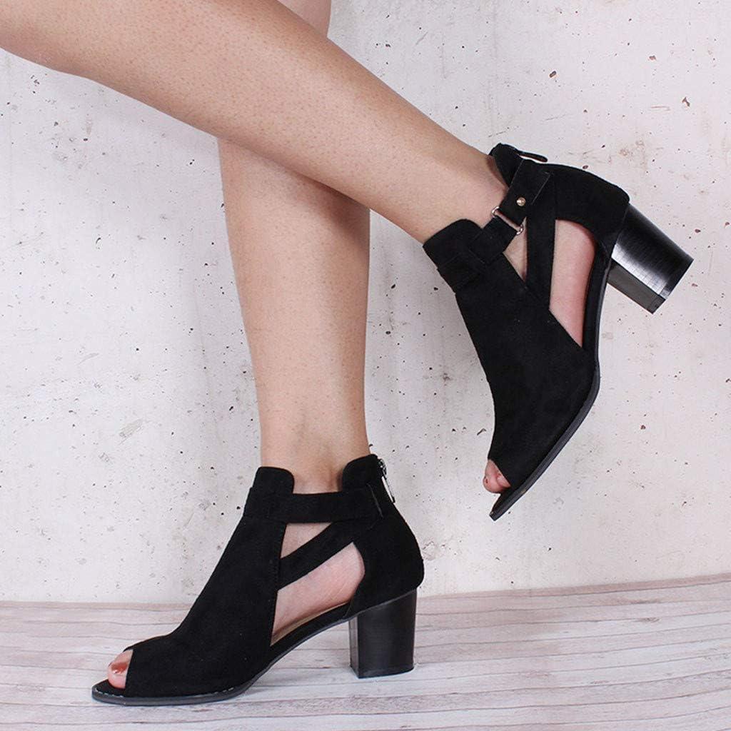 Kinrui Women Shoes Womens Open Toe Ankle Strap Cutout Buckle Side Zipper Stacked Heel Sandals Platform Booties