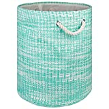 """DII Woven Paper Basket or Bin, Collapsible & Convenient Home Organization Solution for Bedroom, Bathroom, Dorm or Laundry(Medium Round - 14x17""""), Aqua Tweed"""