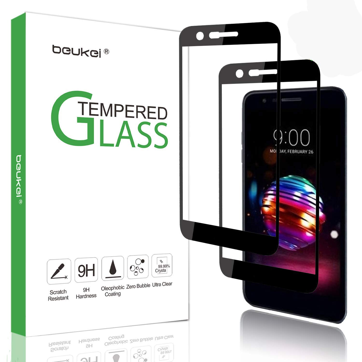(2 Pack) Beukei for LG LG K30/ Phoenix Plus (AT&T)/ K10 2018 / K10 Plus 2018 / K10 Alpha 2018 Tempered Glass Screen Protector, 2.5D Arc Edges 9H Full Coverage,Lifetime Replacement Warranty