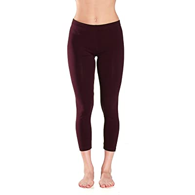 Active Basic Womens Plain Cotton Blend Capri 21 IN Leggings,Small,Burgundy