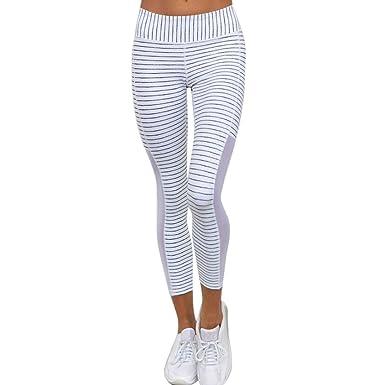 5ad2d8fcf3569 ADESHOP Femmes Taille Haute Rayures Sports Gym Yoga En Cours D ExéCution Fitness  Leggings Pantalon