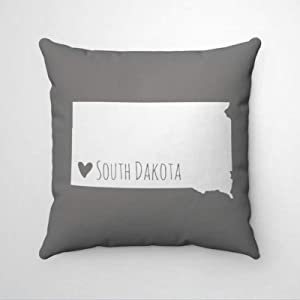 "DONL9BAUER Heart South Dakota Map Pillowcase Home State Map Decorative Square Throw Pillow Covers Farmhouse Cushion Cover for Sofa Couch Home Decor 18""x18"""