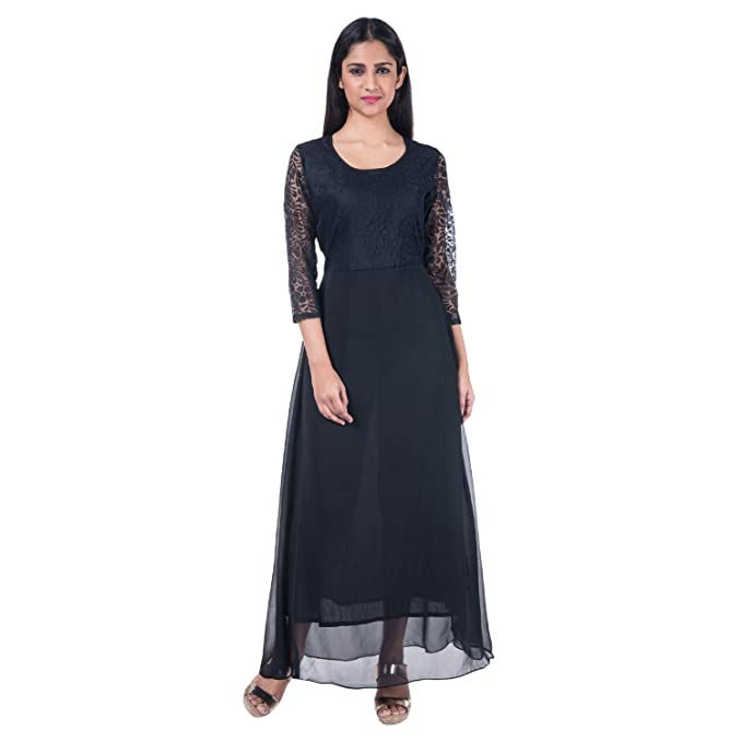 8e35639b30f Mamosa Garments Women s Georgette with Lace 3 4th Sleeve Long Stitched Gown  Maxi Dress (