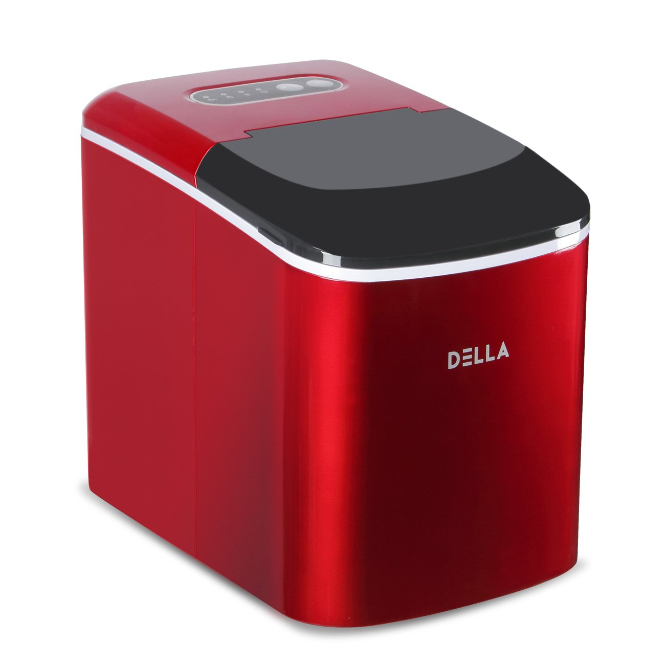 DELLA Compact Portable Ice Maker Machine 2-Size Cube Capable of Producing 26 Lbs. Of Ice Per Day (Red)