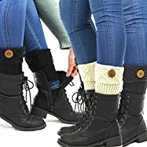 TeeHee Womens Boot Toppers with Button 3-Pack Assorted Colors