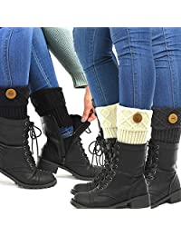 TeeHee Women's Boot Toppers with Button 3-Pack Assorted Colors