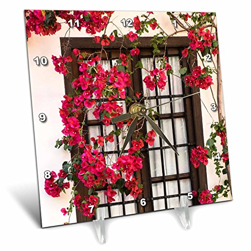 3dRose Danita Delimont - Flowers - Spain, Andalusia. Cordoba. Red bougainvillea and house window. - 6x6 Desk Clock (dc_277893_1) by 3dRose