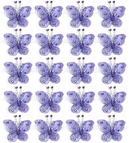 40-Pack Organza Butterflies 2″ Fabric Butterflies Nylon Glitter Butterfly For Wedding Party Table Scatter Scrapbook Craft Card Decoration Colors (Purple)