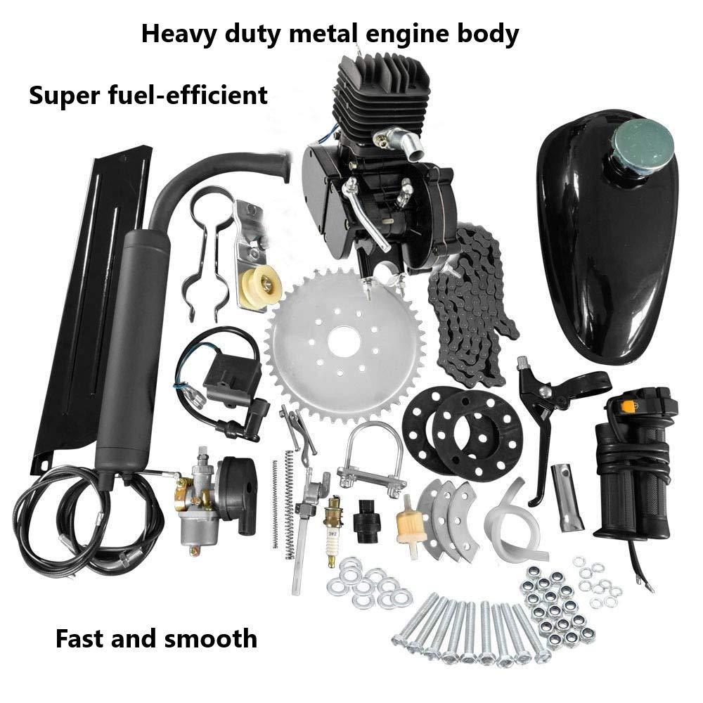 WINMART New 80cc Bike 2 Stroke Gas Engine Motor Kit DIY Motorized Bicycle Black