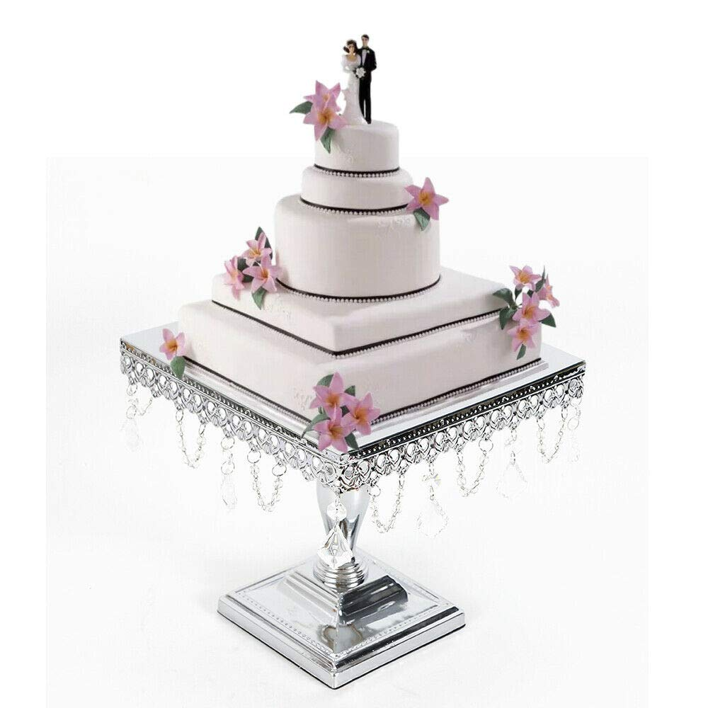WUPYI ケーキスタンド 10インチ 正方形 メタルクリスタルケーキスタンドホルダー デザートカップケーキスタンド 誕生日 結婚式 パーティーディスプレイ シルバー   B07NS953W4