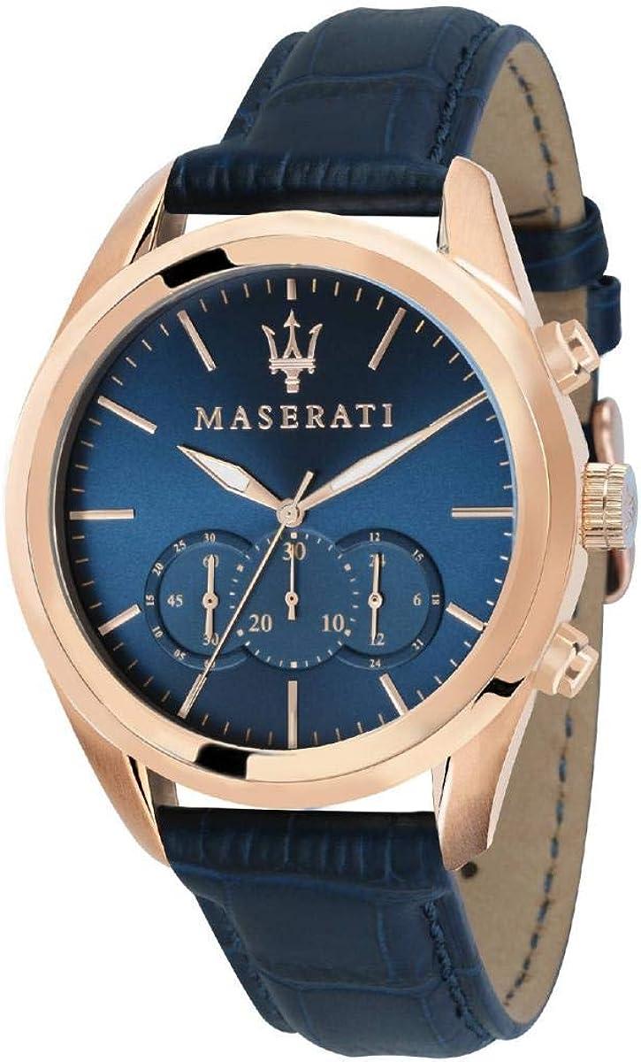 Reloj para Hombre, Colección Traguardo, Movimiento de Cuarzo, cronógrafo, en Acero, PVD Oro Rosa y Cuero - R8871612015