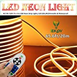 LED NEON LIGHT, IEKOV™ AC 110-120V Flexible LED Neon Strip Lights, 120 LEDs/M, Dimmable, Waterproof 2835 SMD LED Rope Light + Remote Controller for Home Decoration (65.6ft/20m, Warm White)