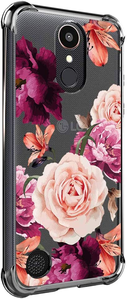 Case for LG K20 Plus, LG K20, LG K20 V, LG K10 2017, LG LV5, Harmony, VS501, Grace LTE for Girls N Women Clear with Cute Red Pink Flowers Design Shockproof Bumper Protective Floral Cell Phone Cover