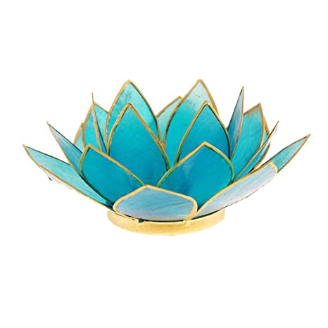 Lotus portavelas Chakra 5azul goldlining