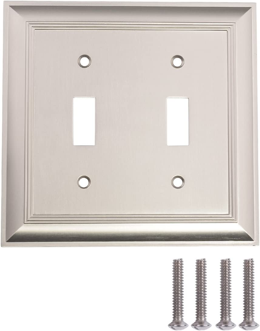 AmazonBasics AB-6016 Double Toggle Wall Plate, 2 Gange, Satin Nickel, 2 Pack