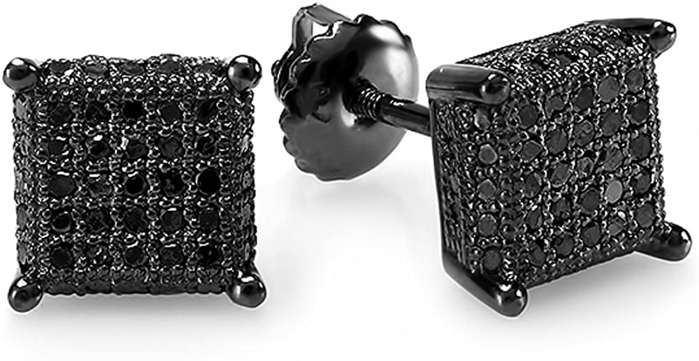 Dazzlingrock Collection 0.50 Carat (ctw) Dice Shape Ice Cube Mens Hip Hop Iced Stud Earrings 1/2 CT, Sterling Silver