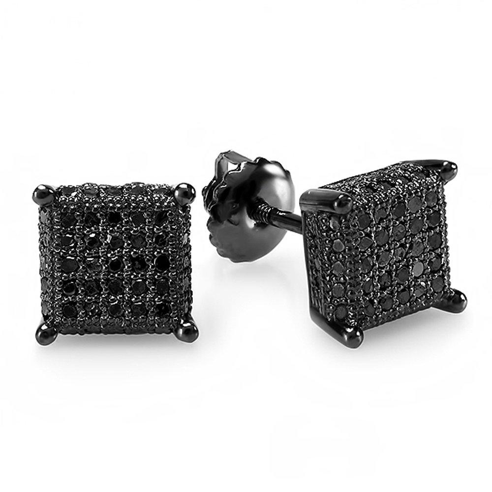 0.50 Carat (ctw) Black Rhodium Plated Sterling Silver Black Diamond Dice Shape Mens Stud Earrings