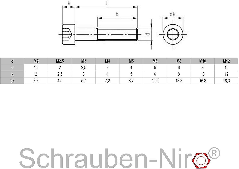 10 St/ück M2 x 22 mm Zylinderschrauben DIN 912 Edelstahl A2 VA V2A Innensechskant Zylinderkopf