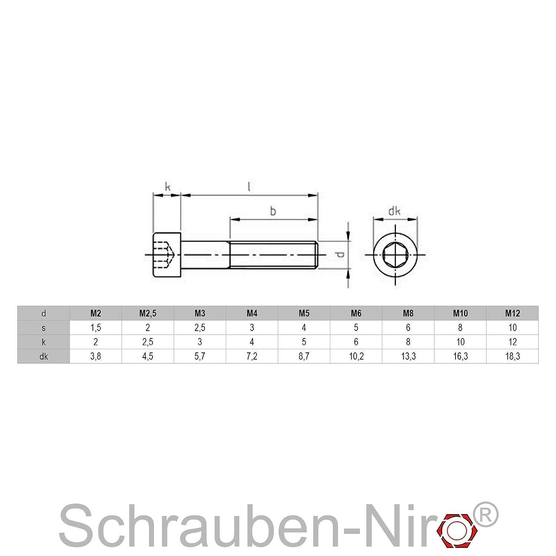 25 St/ück M6 x 16 mm Zylinderschrauben DIN 912 Edelstahl A4 VA V4A Innensechskant Zylinderkopf