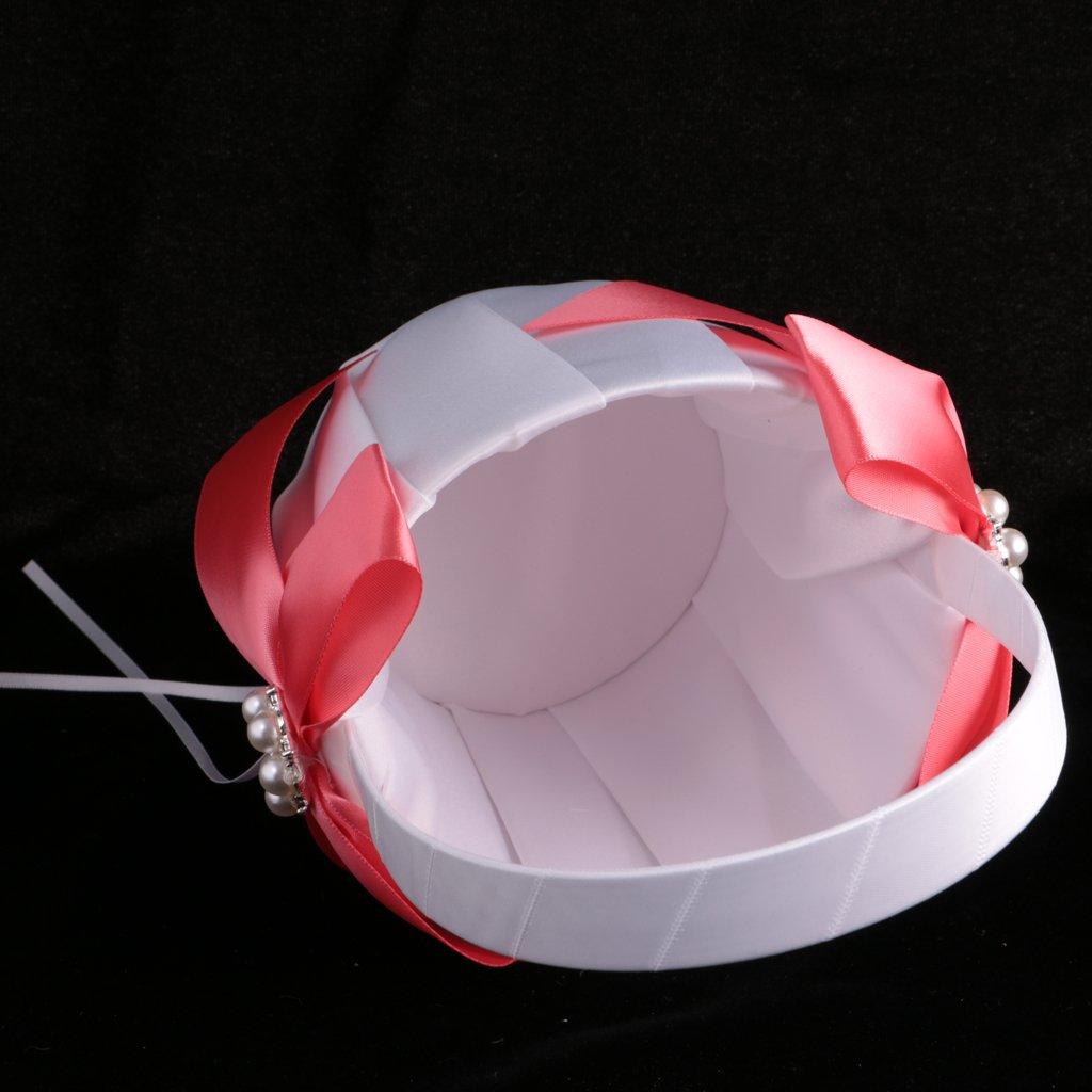 MonkeyJack Wedding Gorgeous Satin Bowknot Pearls Flower Girls Basket Wedding Accessories Gold